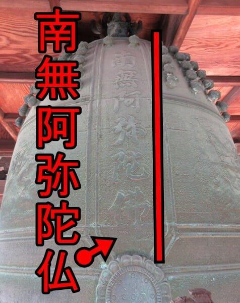 梵鐘の音は仏の声。南無阿弥陀仏と仏の名前(文字)が刻まれている