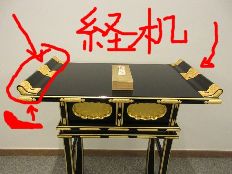 経机の見分け方。机の両端が盛り上がっている形、筆返しがあある机が、経机。